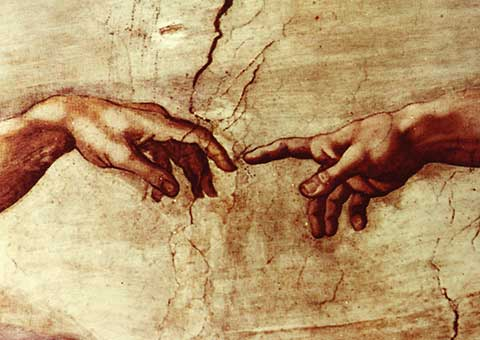 Michelangelo creation of adam hands only
