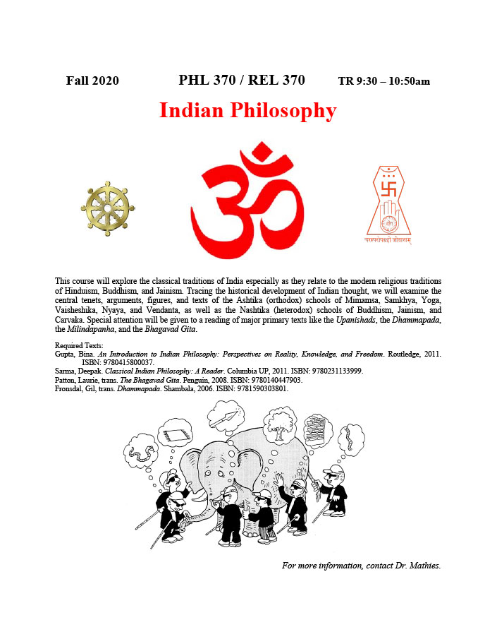 PHL 370/REL 370 INDIAN PHILOSOPHY