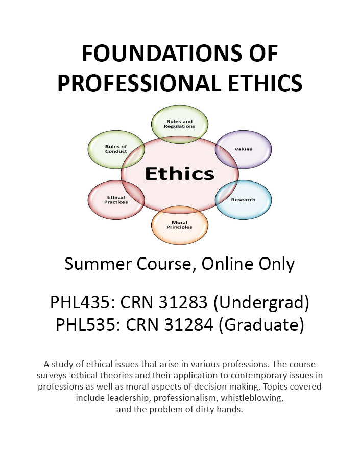 PHL 435/PHL 535 FOUNDATIONS OF PROFESSIONAL ETHICS