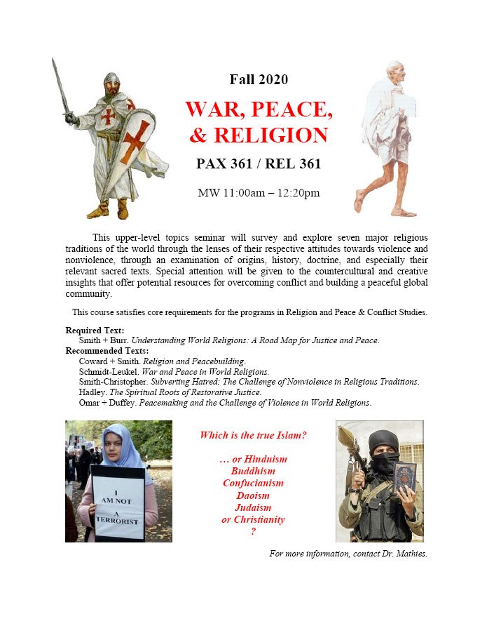 PAX 361/REL 361 WAR, PEACE, & RELIGION