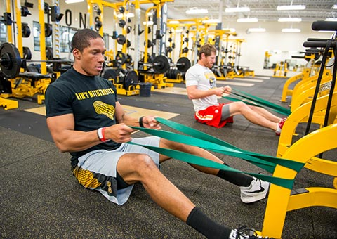 MWSU student works out in the fitness center
