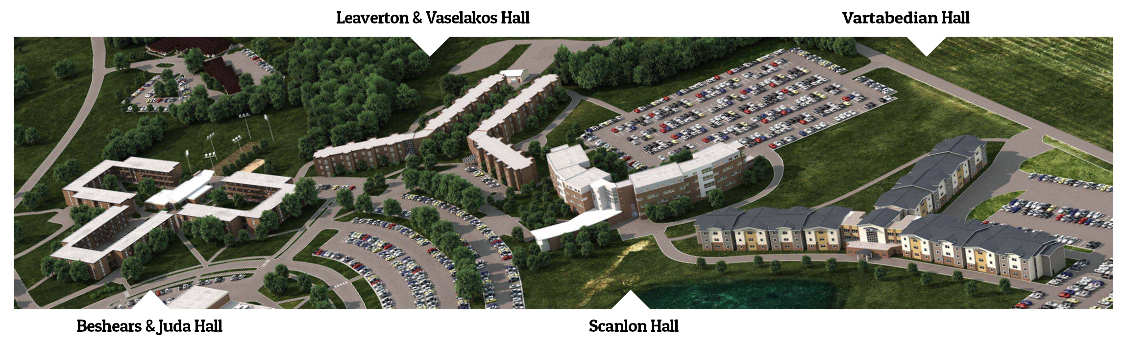Aerial shot of residence halls