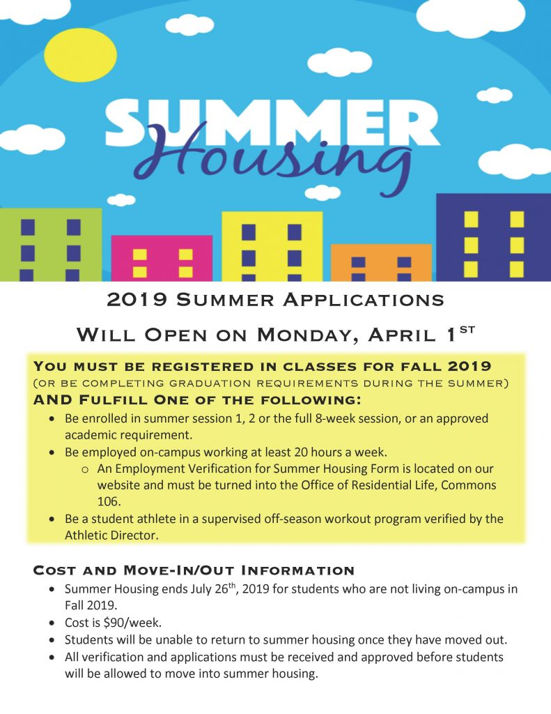 Summer Housing Flyer