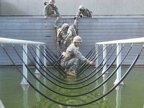 ROTC cadets participate in obstacle course activity