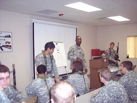 ROTC training in the classroom