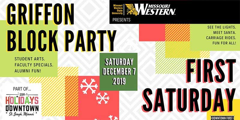 Griffon Block Party - First Saturday - December 7, 2019 - See the lights - Meet Santa - Carriage Rides - Fun for All!