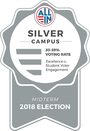 Silver Campus badge for excellence in student voter engagement for the 2018 midterm election