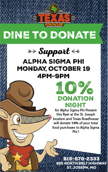 Texas Roadhouse fundraiser for Alpha Sigma Phi