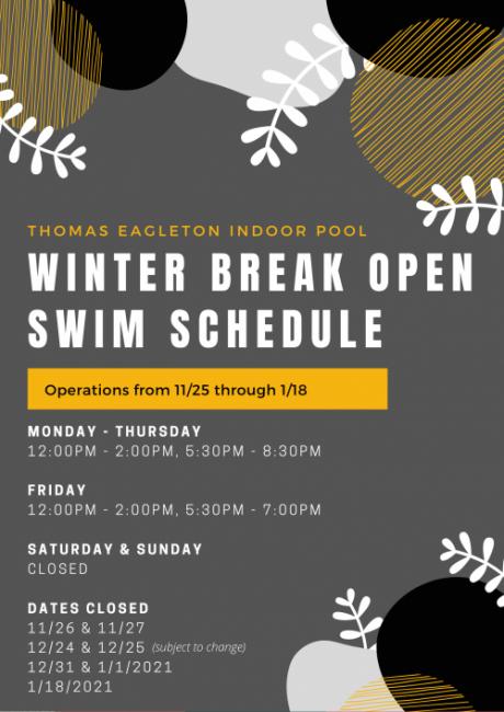 Winter Break Open Swim Schedule