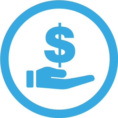 hand with dollar sign icon