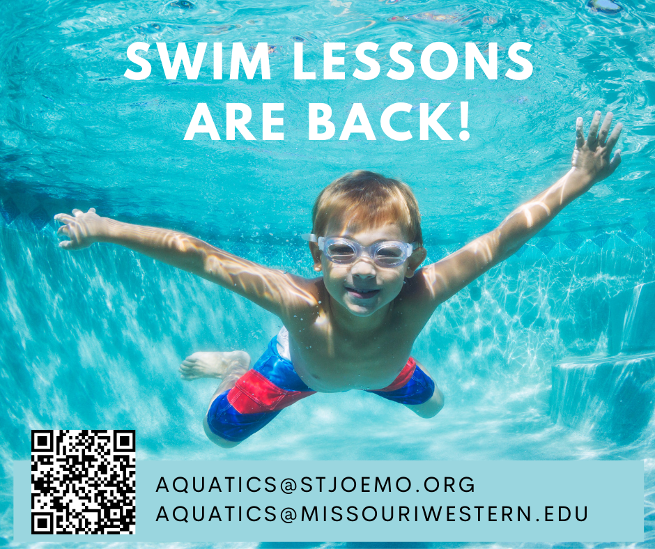 a flyer advertising swim lessons with a picture of a little boy swimming